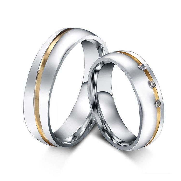 267c27381d White 10 1 pair gold plated custom alliance stainless steel wedding bands  couples rings sets for him and her anillos de boda anel ouro