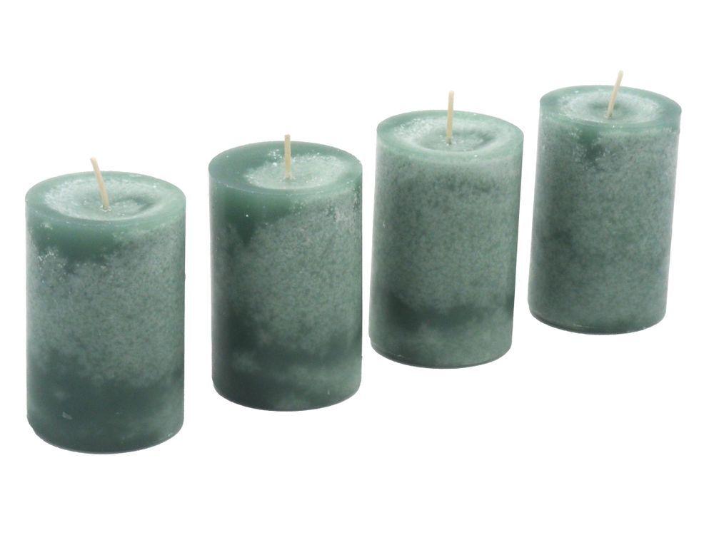 4 Stumpenkerzen Kerzen Grun Mint Salbei Stumpenkerzen Kerzen