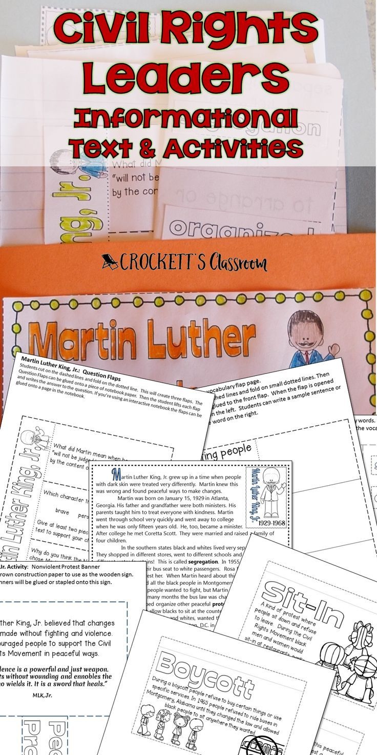 Civil Rights Leaders, informational text and activities to help your ...