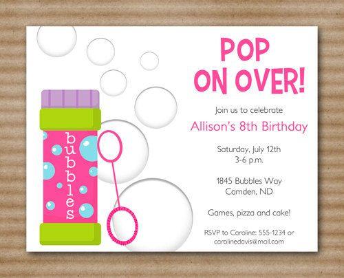 Bubbles Birthday Invitation Bubbles Party Printable Pdf File Printed Invitations Also Availa Bubble Birthday Bubble Birthday Parties Birthday Invitations
