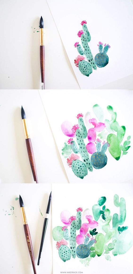 Diy Watercolor Cactus Painting Aquarell Ideen