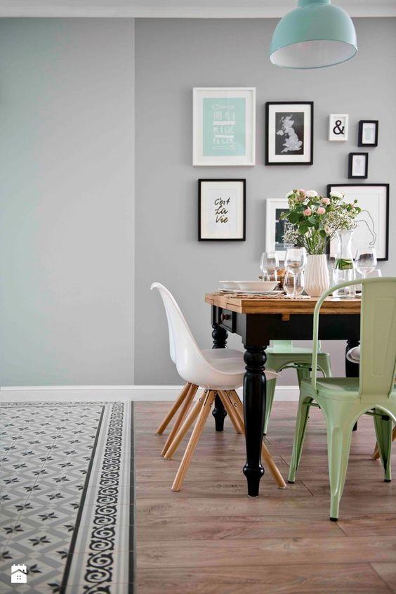 Un salón de Pinterest en gris, blanco y mint Color de moda, Gris y