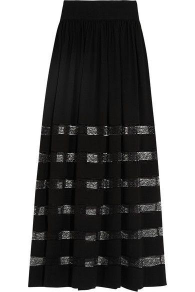 MICHAEL KORS Lace-Paneled Silk-Georgette Maxi Skirt. #michaelkors #cloth #skirts