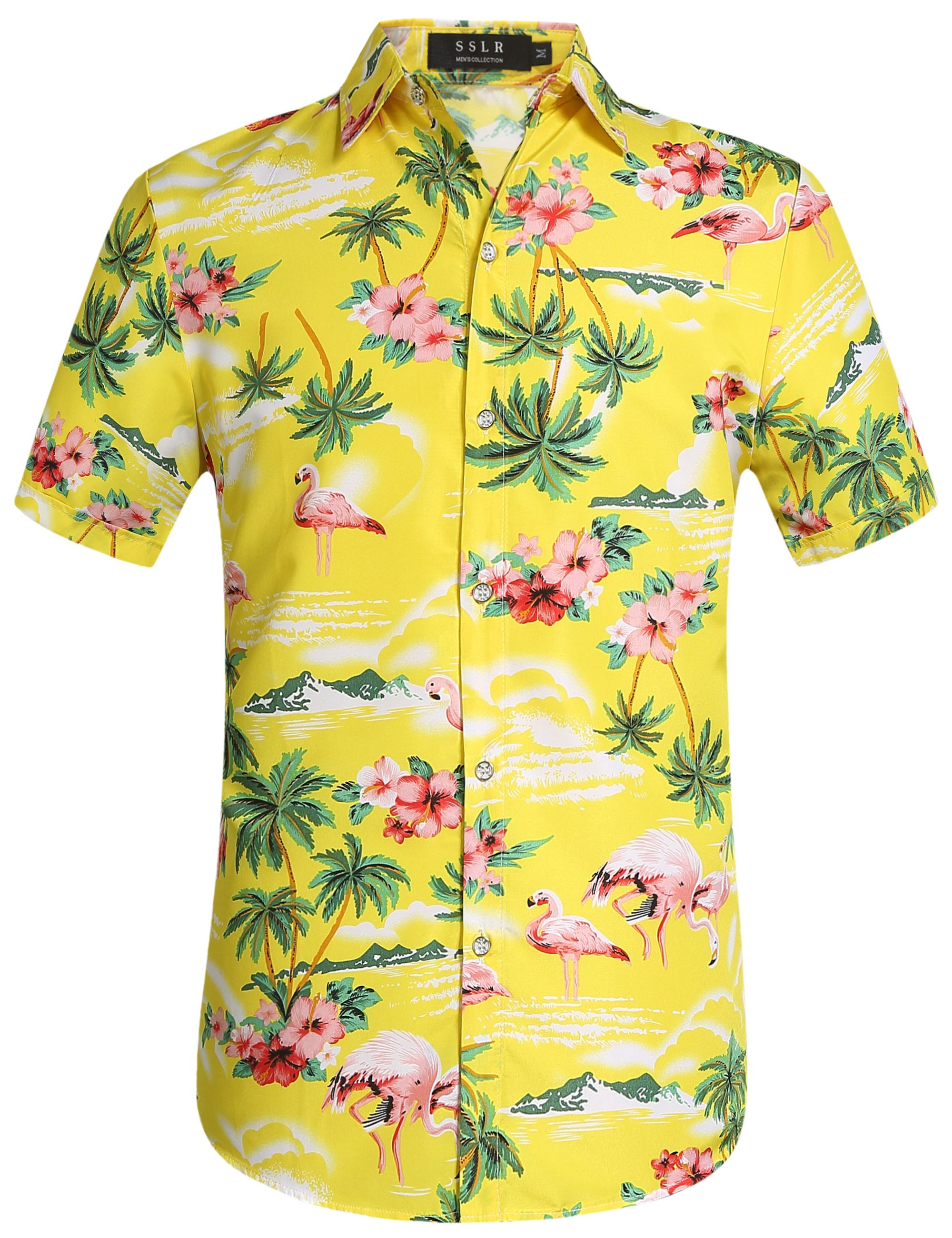 30f4c1834 23.90 Men's yellow floral flamingo shirt Flamingo Shirt, Retro Clothing, Mens  Hawaiian Shirts