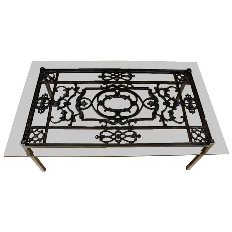 French Wrought Iron And Glass Top Coffee Table