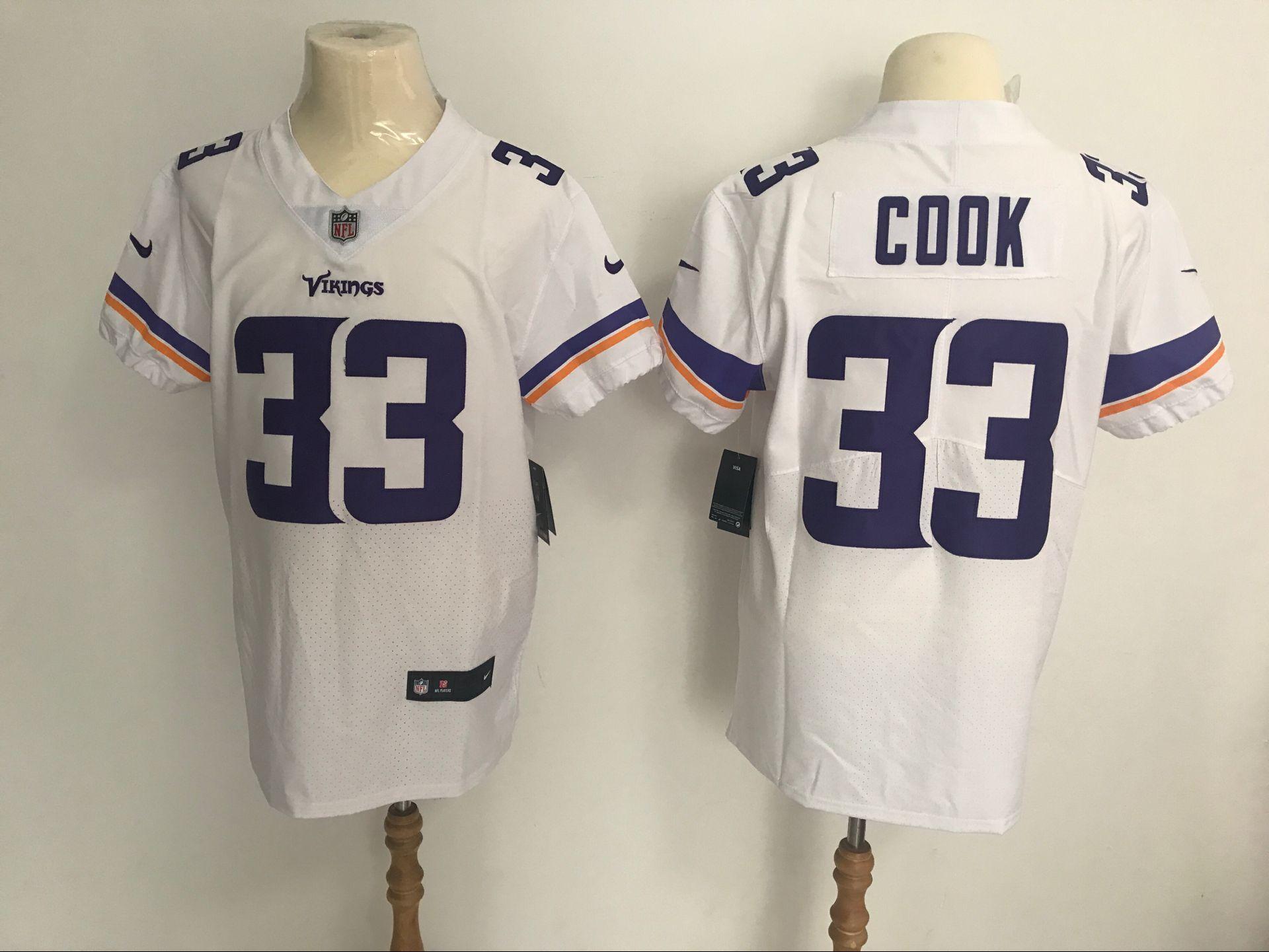 best service 726e5 a6790 Nike Vikings #33 Dalvin Cook White Men's Stitched NFL Vapor ...