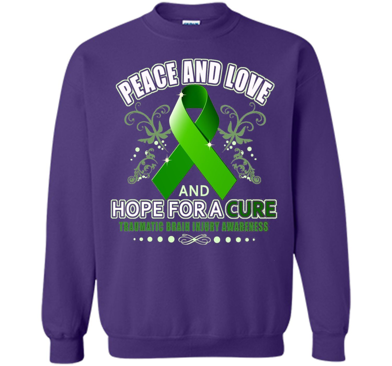 Peace Love And Hope Green - Traumatic Brain Injury Shirt