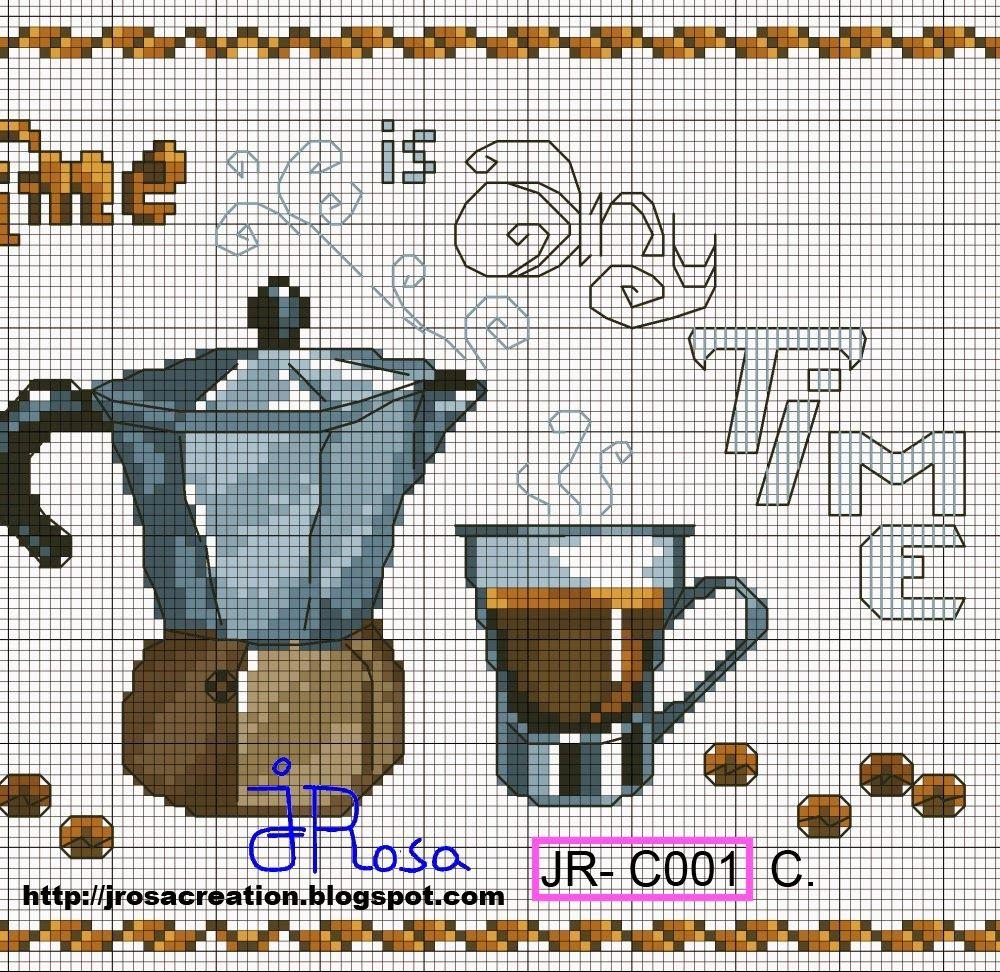 JRosa világa: Coffee Time cross stitch pattern - Kávés terítő ...