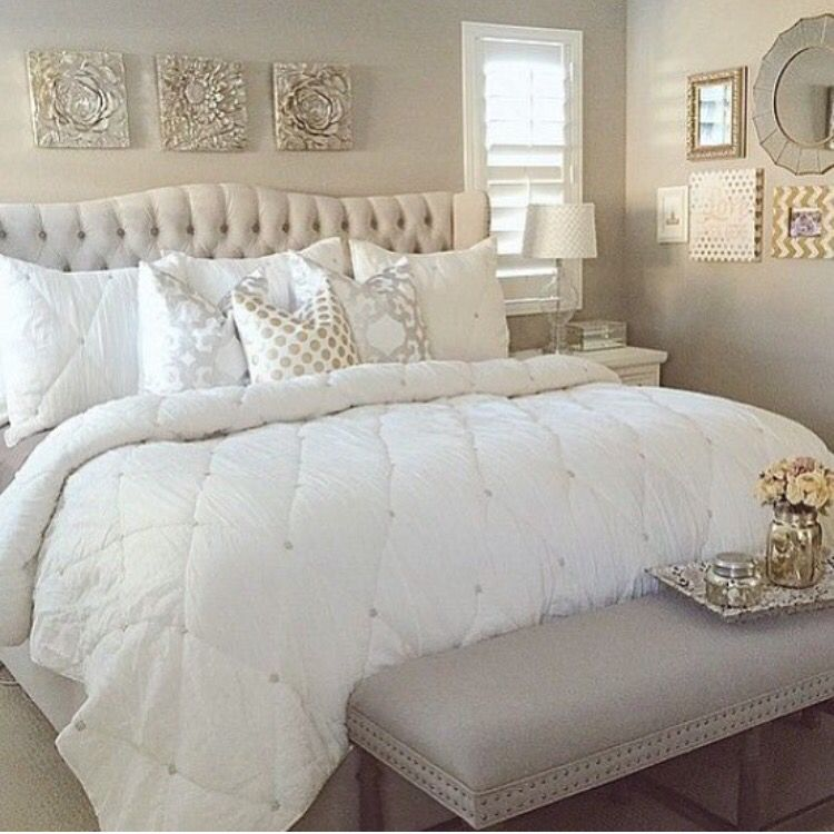 White and a hint of gold. Yes! | Home bedroom, Bedroom ...