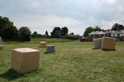 Andrew McKeown, 'Dice', Northlands Play Area, Chester-le-Street, Co. Durham. Various sandstone. 16 roman style stone dice. Various Dimensions