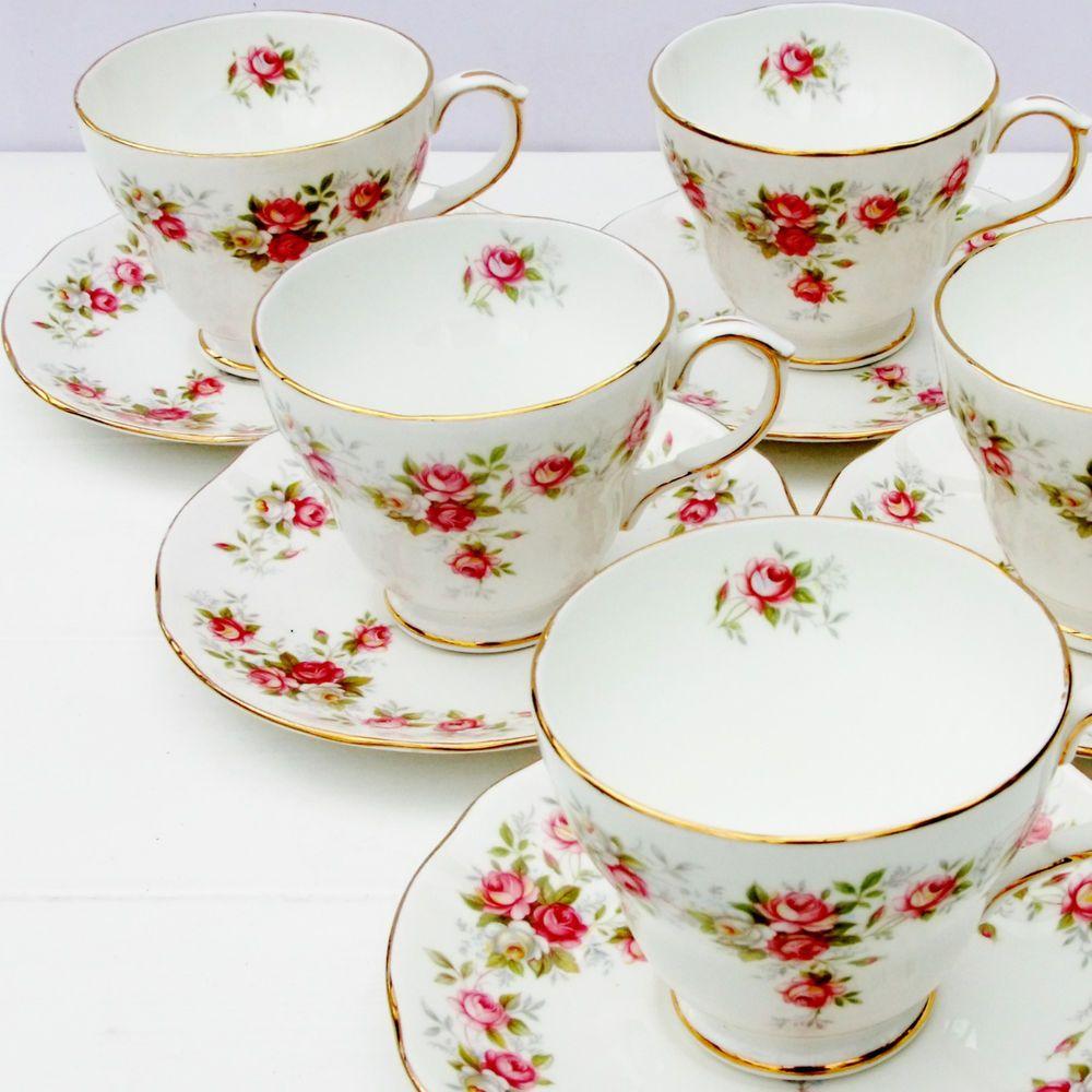 Vintage Duchess June Bouquet Bone China Tea Set 6 Cups