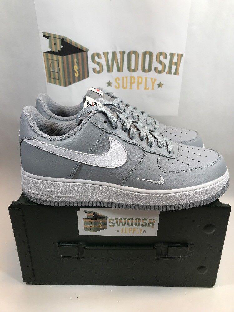 new concept 98394 d5a1f Nike Air Force 1 AF1 OG NEW Mens Sz 9.5 Wolf Grey White 820266 018 Mini  Swoosh  Nike  BasketballShoes