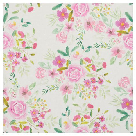 Trendy girly pink green floral watercolor pattern fabric