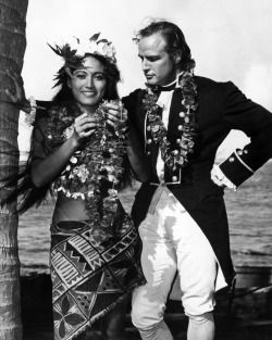"Tarita Teriipia and Marlon Brando in ""Mutiny on the Bounty"", 1962."
