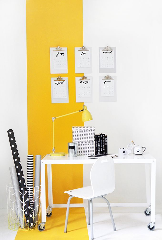 MY WORKSPACE | Yellow Stripe Wall | Studio/Office Decor Ideas ...