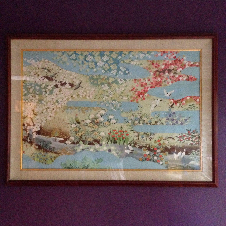 Japanese rice paper art in a Hawaiian Koa frame with linen mat ...