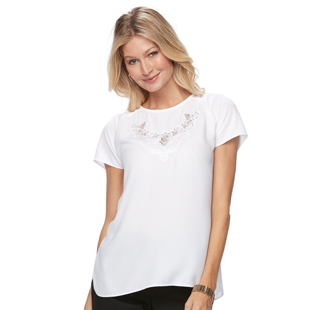 Women's Dana Buchman Lace Embroidered Woven Top, White