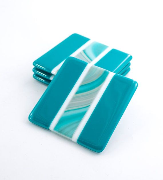 Fused glass drink coasters set of 4 teal home decor modern barware coffee table decorations bar accessories unique hostess gift