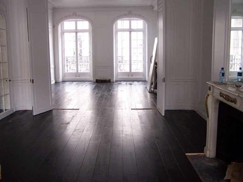 Painted Floor Patterns | Black Wood Floor Design, Walnut Black Hardwood  Flooring Is One Of