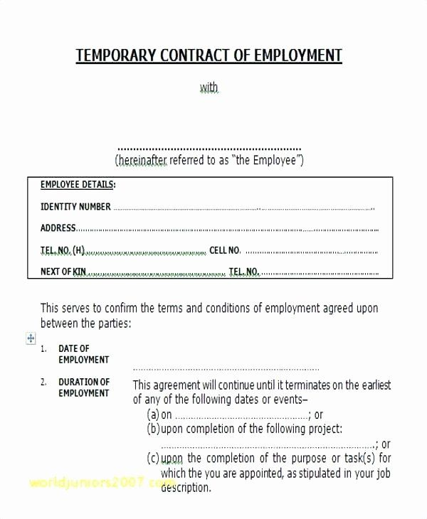 Temporary Employment Contract Template Inspirational At Will Employment Agreement Template Tempora Contract Template Treatment Plan Template Blog Post Template