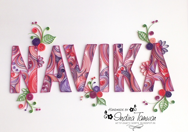 Quilled Name Plate http://arty-sorts.blogspot.in/2013/10/quilled-name-plate-navika.html