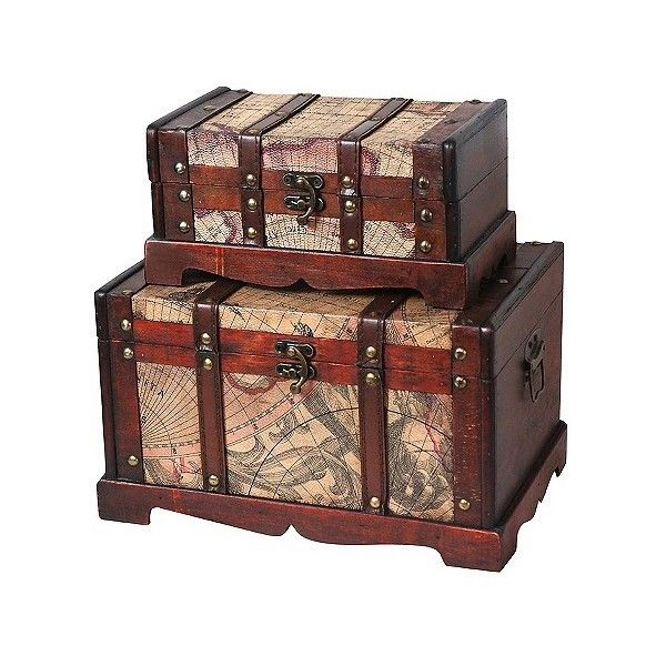 Old world map wooden trunk 50 liked on polyvore featuring home designer clothes shoes bags for women ssense chest furnituregarden furniturestorage trunkwood gumiabroncs Images