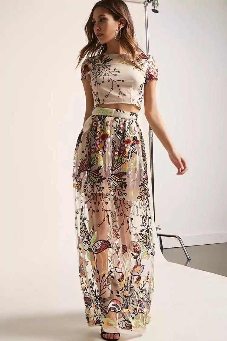 753b7446f95 Product Name Sheer Mesh Floral Embroidered Crop Top   Maxi Skirt Set ...