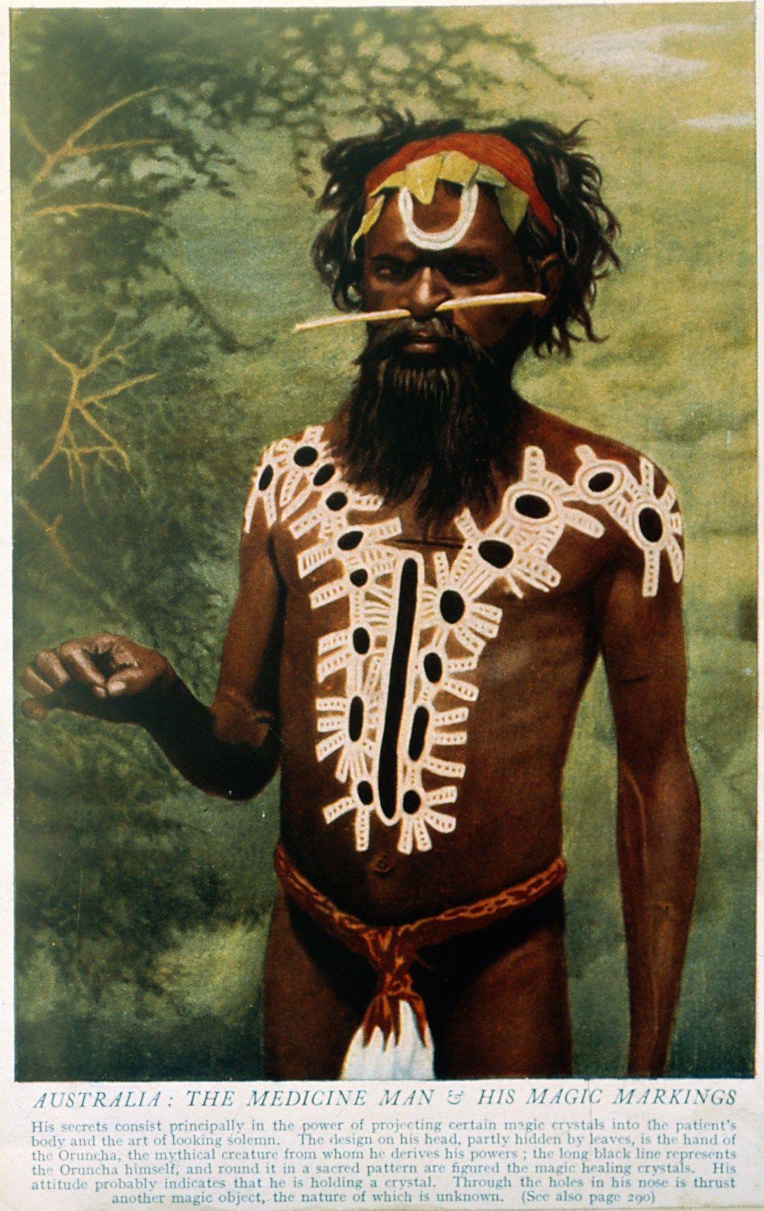 Shaman/medicine man, body paint, Australia