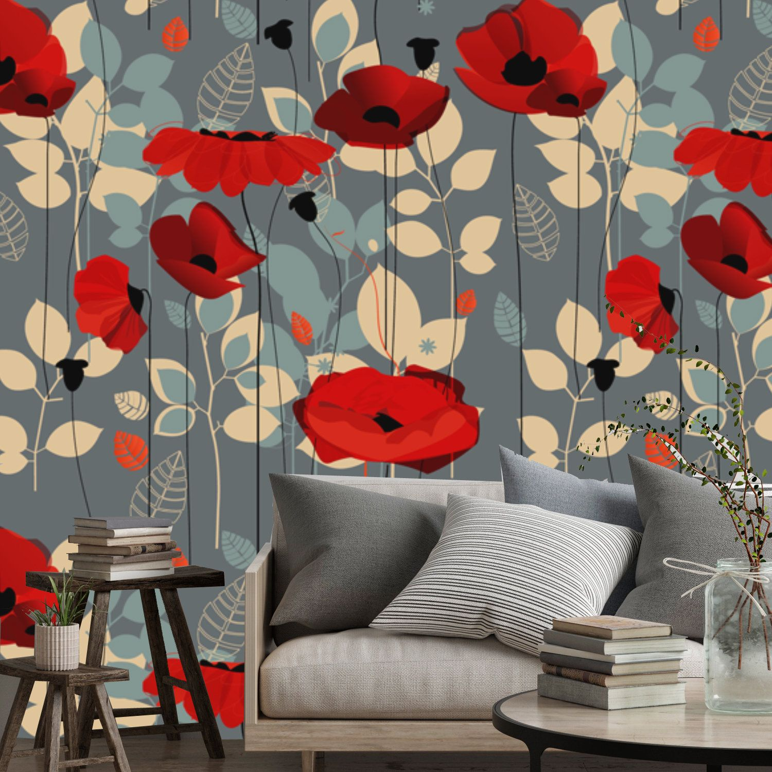 Large Floral Wallpaper Mural Of Red Poppy Flowers On Gray Etsy In 2021 Large Floral Wallpaper Floral Wallpaper Mural Wallpaper