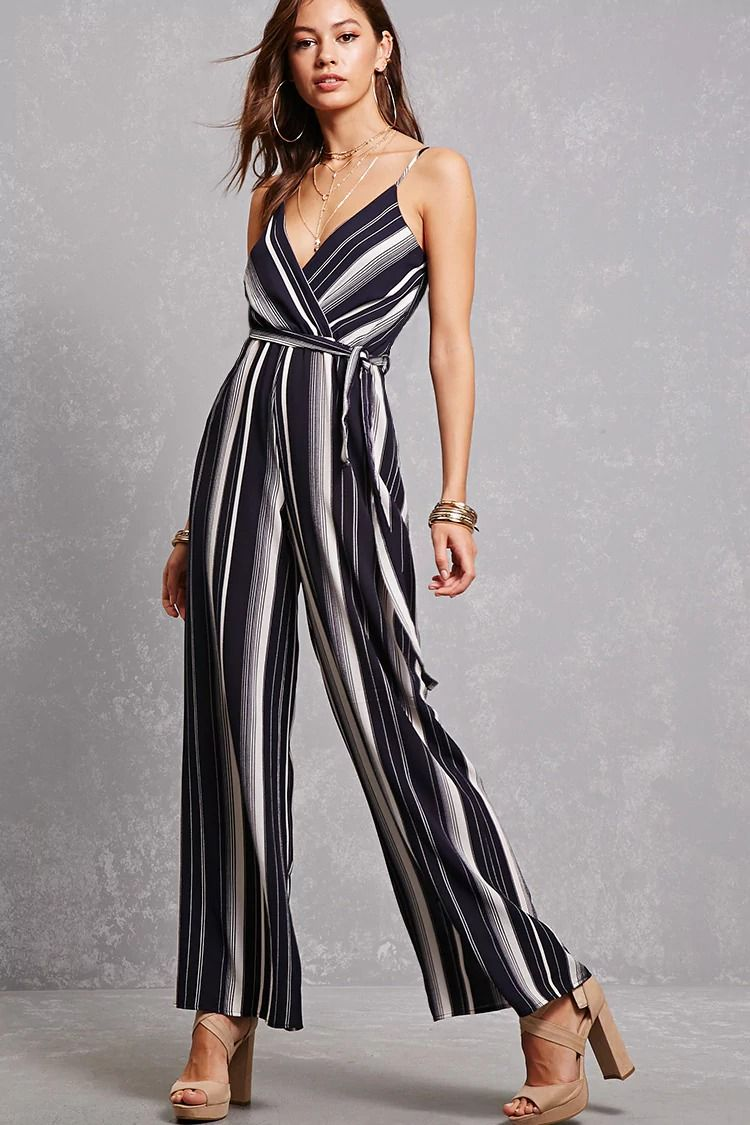 A woven palazzo jumpsuit featuring vertical stripes, a front surplice neckline, an elasticized back, cami straps, a self-tie sash belt, and elasticized waist.<p>- This is an independent brand and not a Forever 21 branded item.</p>