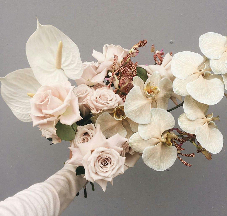 Stunning Ingredients In This Hand Tied Wedding Bouquet Anthurium Roses P Flower Arrangements Wedding Flower Arrangements Vintage Wedding Flower Arrangements