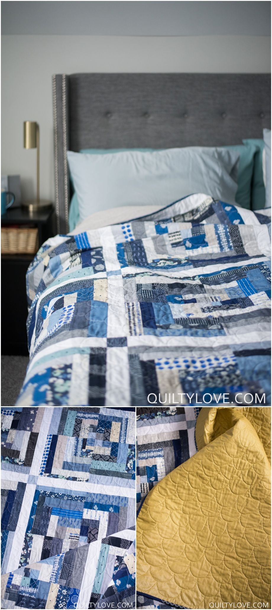 Click on through to see more photos of this Indigo log cabin quilt made by  Emily ee7e7d83c988