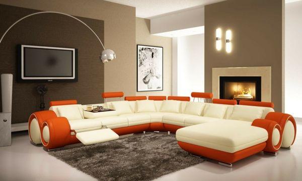 Schön Moderne Wandfarben Beige Orange Akzente Couch