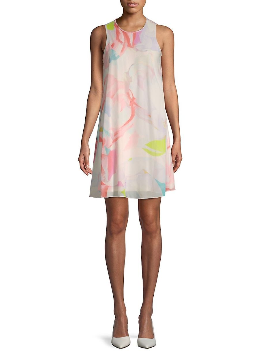 b7988192674c Calvin Klein Floral Chiffon Trapeze Dress, #CalvinKlein, #Chiffon, #Floral