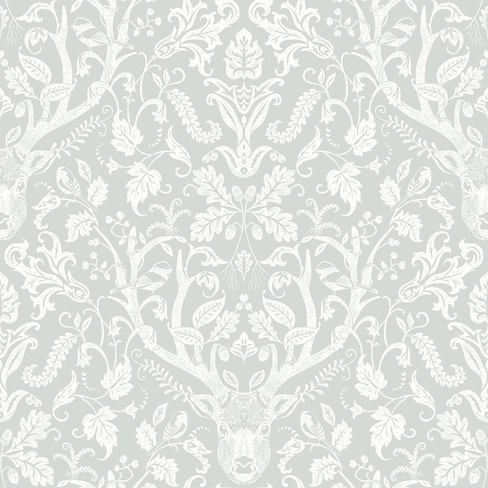 Chesapeake Kiwassa Grey Antler Damask Paper Strippable Roll Covers 56 4 Sq Ft 3118 12702 The Home Depot Damask Wallpaper Farmhouse Wallpaper Damask Wallpaper Living Room