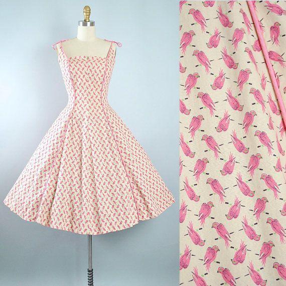 Vintage 50s Novelty BIRD Print Dress / 1950s Cotton Sundress Pink ...