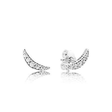5c3324215 Lunar Light Stud Earrings, Clear CZ   Earrings   Pandora earrings, Pandora  gold, Sterling silver earrings studs