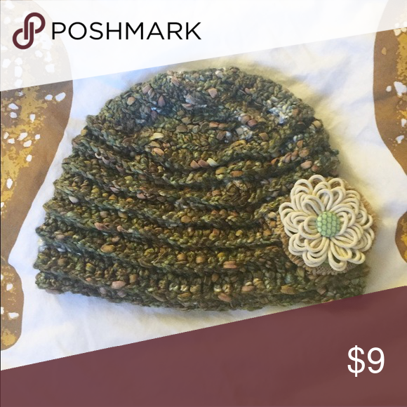 Soft sage knit hat with flower accent This is the softest hat I've ever felt! It's handmade, and has never been worn except to try it on. Accessories Hats