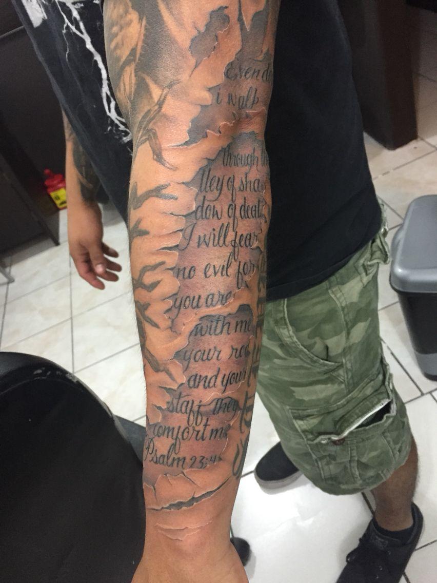 Psalm 23 Tattoo Sleeve : psalm, tattoo, sleeve, Psalms, Family, Sleeve, Tattoo,, Tattoos,, Forearm, Tattoos