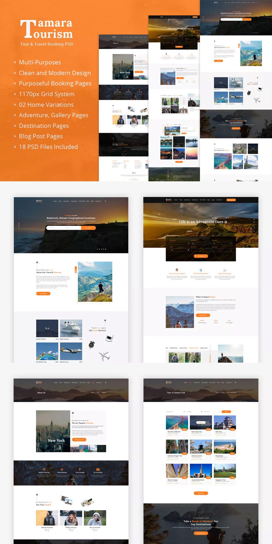tamara travel agency and tourism template psd website design