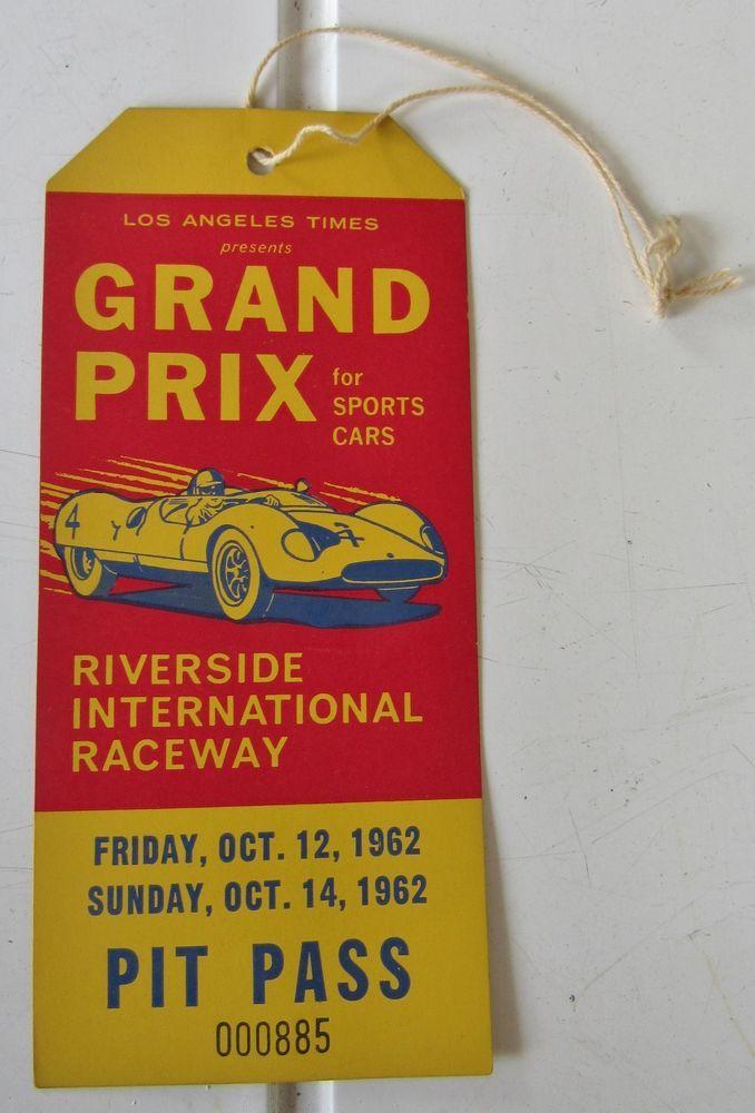 1960's grand prix sports cars riverside raceway race pit pass ticket from $9.99