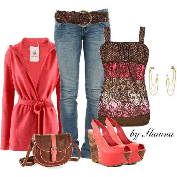 Brown and pink outfit I really really love this but hate the shoes