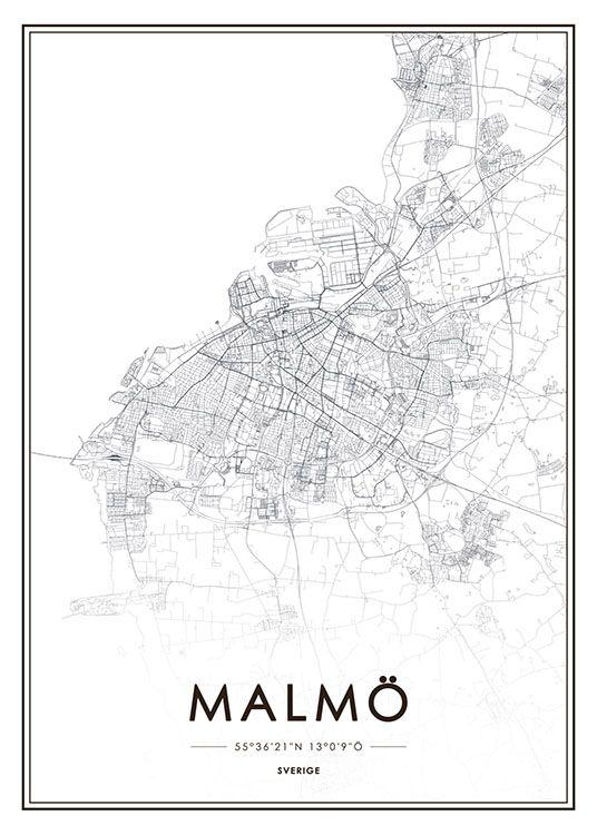 Malmo Karta Poster Vintage Affischer Karta Malmo