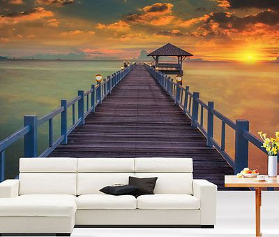 #Jetty sunrise lake 3d art full wall mural #photo wallpaper home #decal deco kids,  View more on the LINK: 	http://www.zeppy.io/product/gb/2/181647681481/