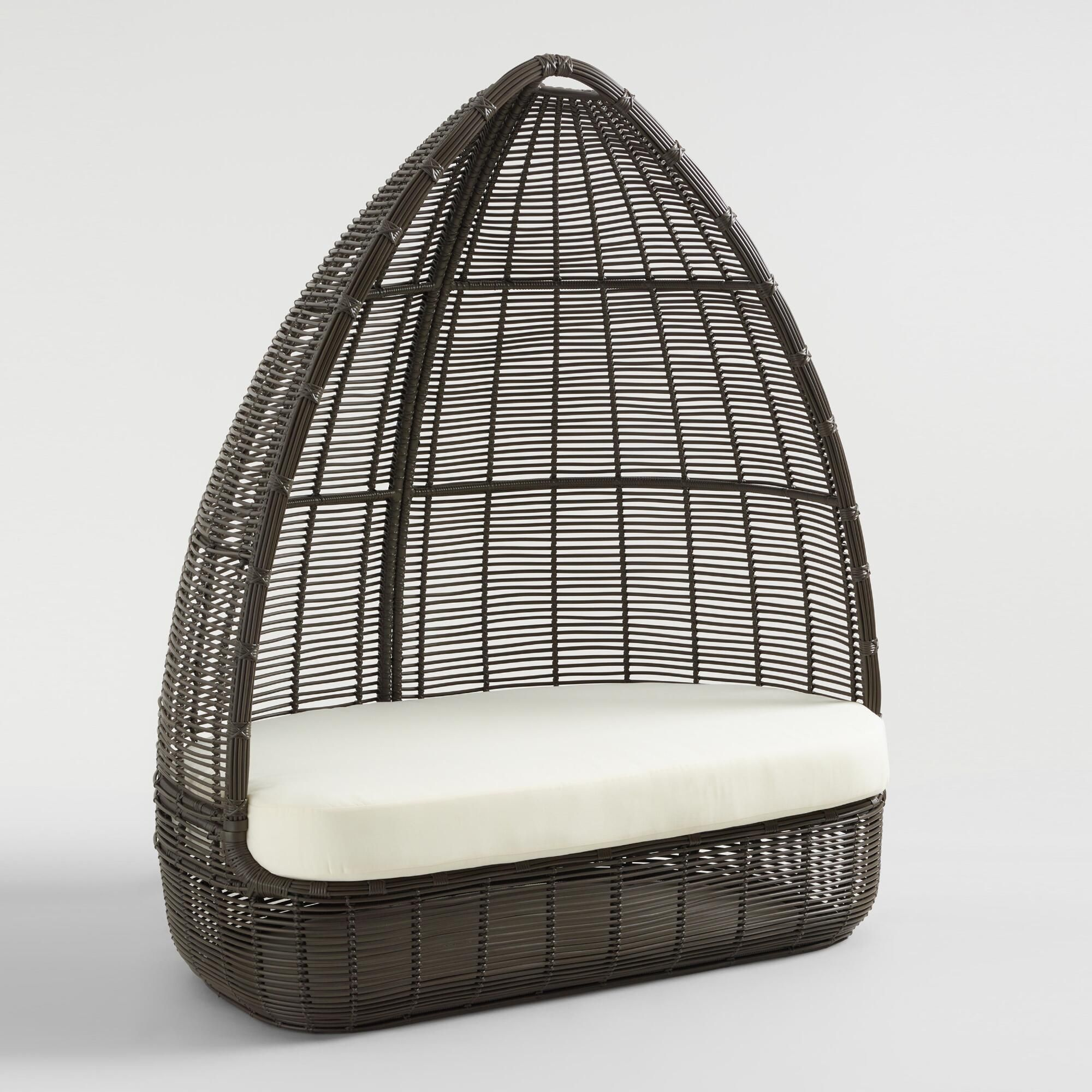 Egg Wicker Chairs Outdoor Dark Gray All Weather Wicker Maximus Egg Chair By World Market In