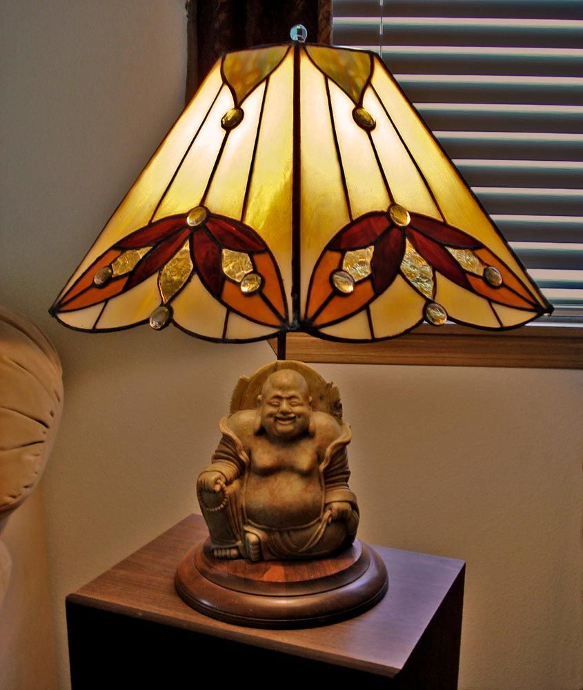 Buddha Lamp With Stained Glass Lamp Shade By Jannie Ledard Glass