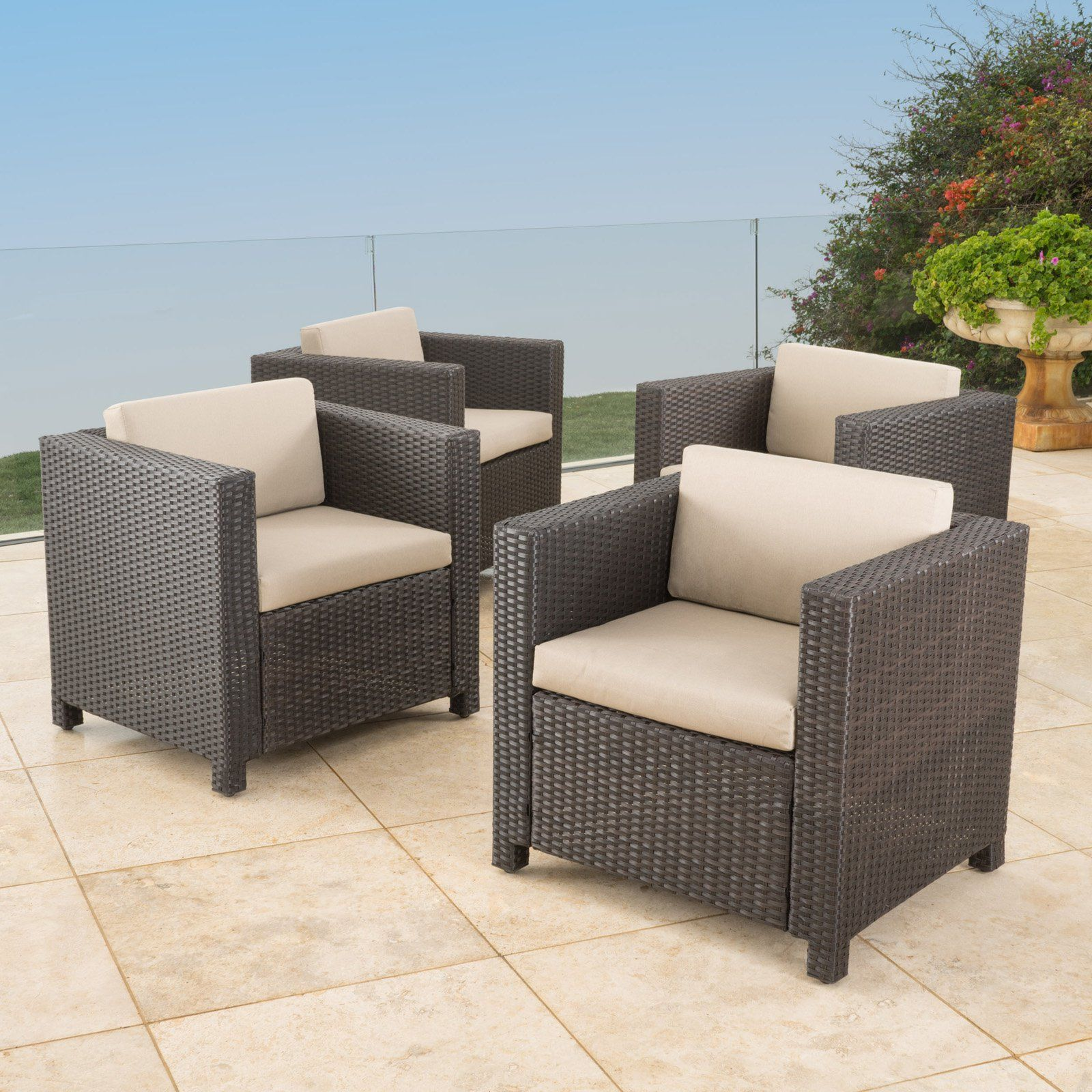 Outdoor Murano Patio Wicker Club Chairs With Water Resistant