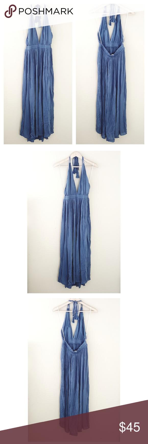 Gauzy denim blue openback boho halter maxi dress boutique in