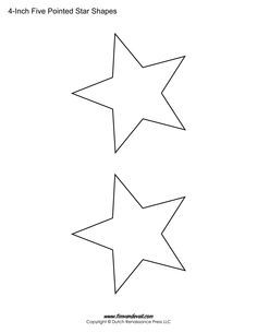 Printable Five Pointed Star Shapes For Art Projects Available In Many Different Sizes Download The Template You Need Ideal Posters Decorations