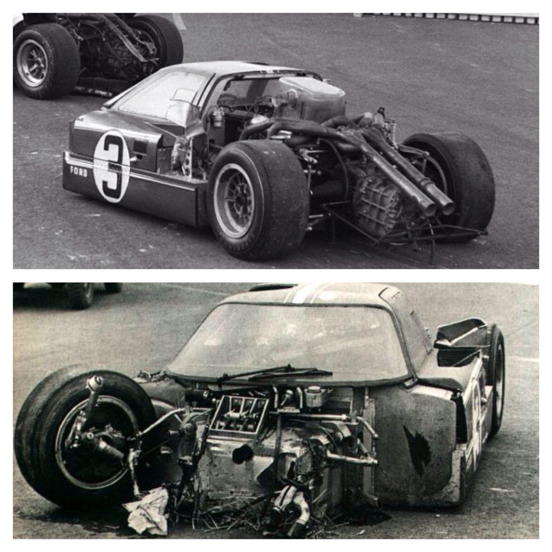 1967 Gt40 Lemans Crash Drivers Andretti Bianchi Ford Racing